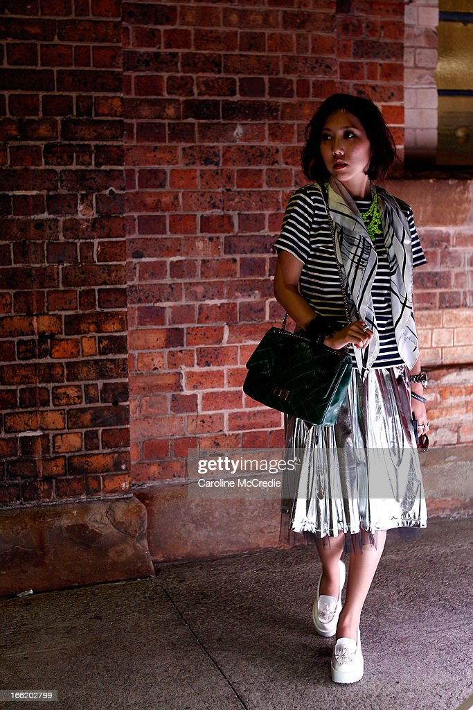 Fashion blogger Faye Tsui is seen at Mercedes-Benz Fashion Week Australia Spring/Summer 2013/14 at Carriageworks on April 10, 2013 in Sydney, Australia.