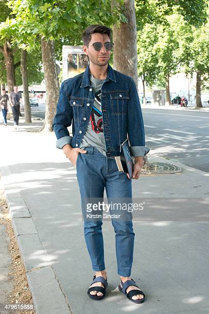 Fashion blogger Filippo Fiora wears all Kenzo with Tailor made trousers and Lanvin shoes on day 4 of Paris Fashion Week Menswear Spring/Summer 2016...