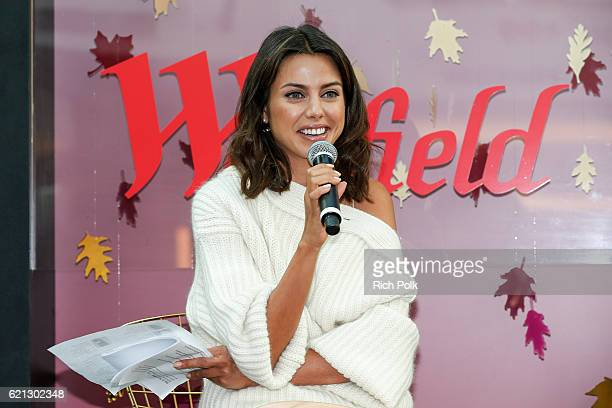 Fashion blogger for VivaLuxury Annabelle Fleur speaks on stage at the Westfield Topanga x Ellecom Fall Trend Report at Westfield Topanga on November...