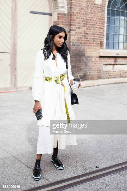 Fashion Blogger Freddy Harper is wearing all Dion lee during MercedesBenz Fashion Week Resort 18 Collections at Carriageworks on May 15 2017 in...