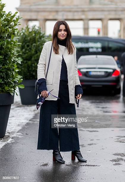 Fashion blogger Funda Christophersen outside Dorothee Schumacher during the MercedesBenz Fashion Week Berlin Autumn/Winter 2016 at Brandenburg Gate...