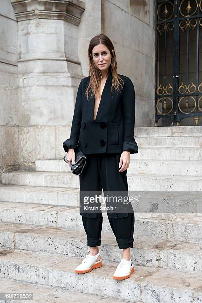 Fashion Blogger Gala Gonzalez wears a Stella McCartney top trousers shoes and bag on day 7 during Paris Fashion Week Spring/Summer 2016/17 on October...