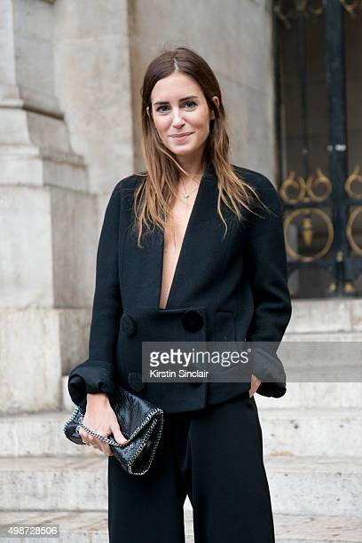 Fashion Blogger Gala Gonzalez wears a Stella McCartney top trousers and bag on day 7 during Paris Fashion Week Spring/Summer 2016/17 on October 5...