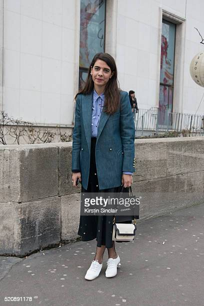 Fashion Blogger Georgia Tal wears a N21 skirt and Stella McCartney shoes on day 8 during Paris Fashion Week Autumn/Winter 2016/17 on March 8 2016 in...
