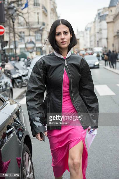Fashion blogger Gilda Ambrosio wears an Alexander Rich dress and Dior jacket on day 4 of Paris Haute Couture Fashion Week Spring/Summer 2016 on...