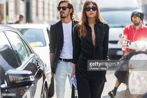 Fashion blogger Giotto Calendoli Patricia Manfield during Milan Fashion Week Spring/Summer 16 on September 26 2015 in Milan Italy