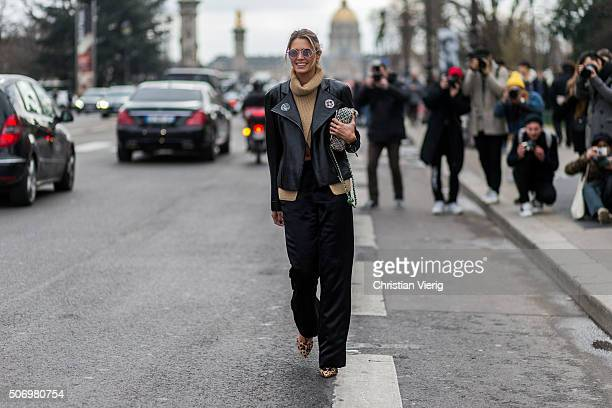 Fashion blogger Helena Bordon wearing Chanel outside Chanel during the Paris Fashion Week Haute Couture Spring/Summer 2016 on January 26 2016 in...