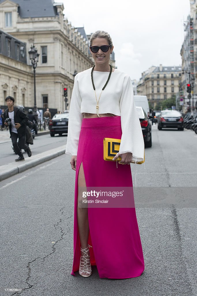 Fashion blogger Helena Bordon wears a Celine top, Lily skirt, Illesteva sunglasses, Luiza Barcelos shoes and a Maria Sole bag on day 3 of Paris Collections: Womens Haute Couture on July 03, 2013 in Paris, France.