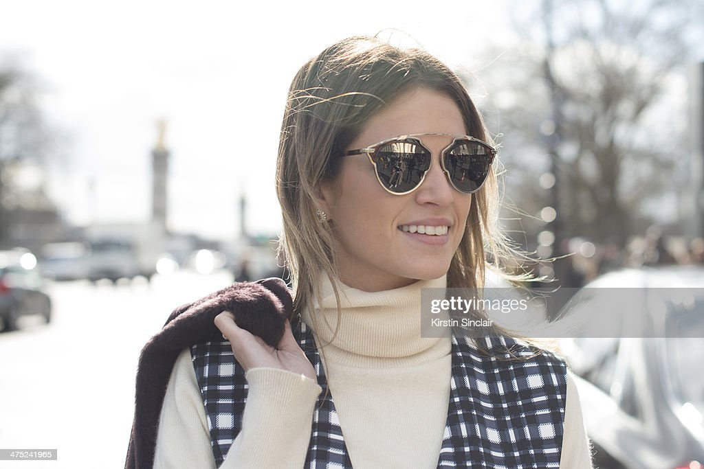 Fashion Blogger Helena Bordon wears a Ralph Lauren sweater, Finders Keepers dress and Gucci jacket on day 2 of Paris Collections: Women on February 26, 2014 in Paris, France.