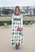 Fashion blogger Helena Bordon wears a Valentino bag shoes and dress on day 8 of Paris Collections Women on March 10 2015 in Paris France