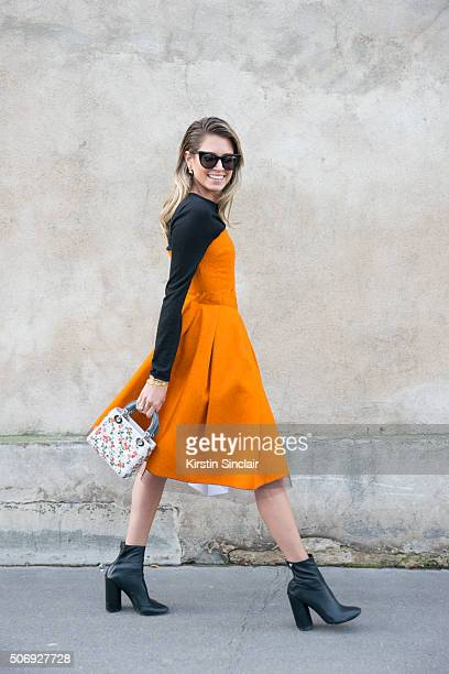 Fashion blogger Helena Bordon wears all Dior on day 2 of Paris Haute Couture Fashion Week Spring/Summer 2016 on January 25 2015 in Paris France