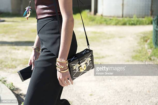 Fashion Blogger Helena Bordon wears all Thierry Mugler and a Louis Vuitton bag on day 5 during Paris Fashion Week Spring/Summer 2016/17 on October 3...