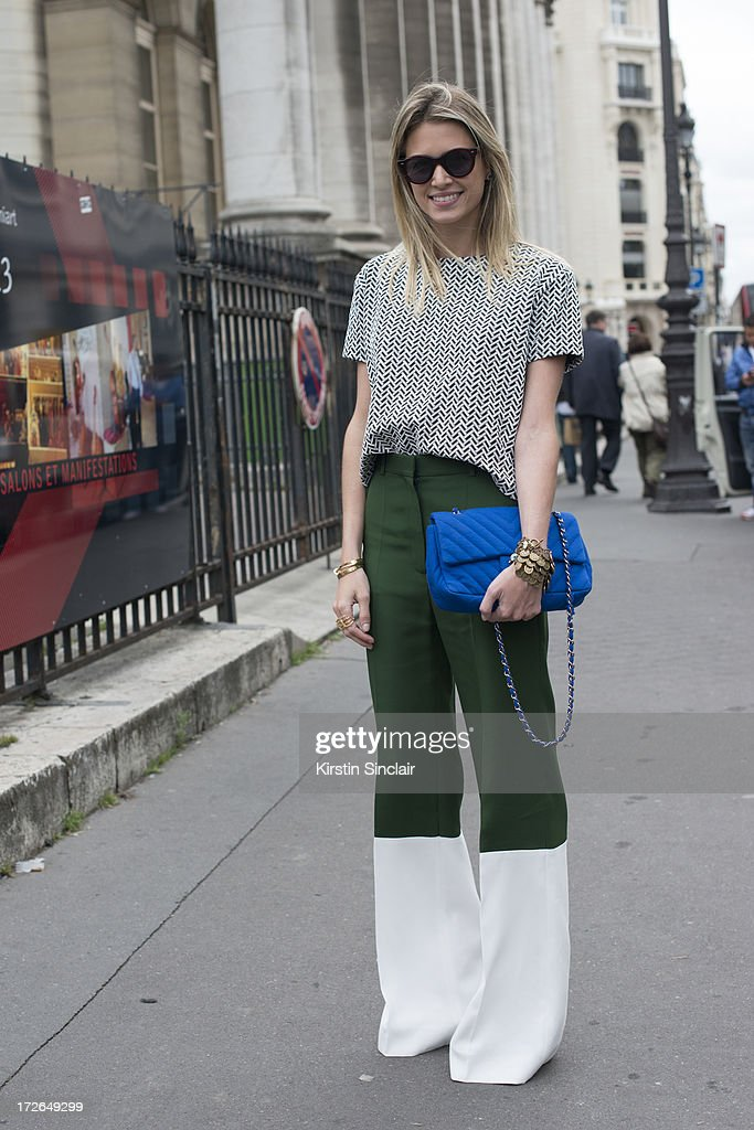Fashion blogger Helena Bordon wears Celine trousers, Chanel bag, Illesteva glasses, Lily top and her own design jewellery on day 3 of Paris Collections: Womens Haute Couture on July 03, 2013 in Paris, France.