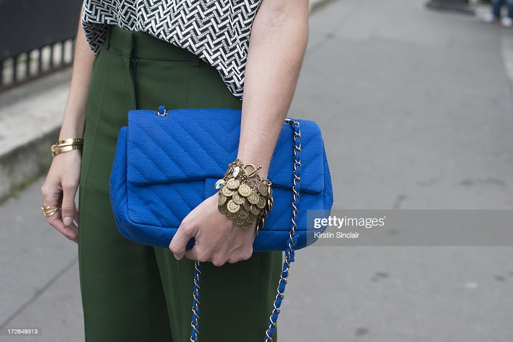 Fashion blogger Helena Bordon wears Celine trousers, Chanel bag, Lily top and her own design jewellery on day 3 of Paris Collections: Womens Haute Couture on July 03, 2013 in Paris, France.