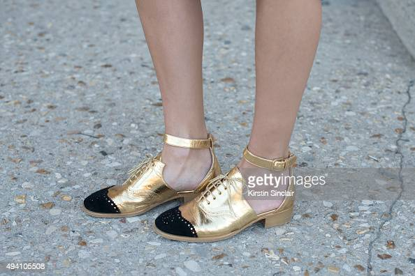 Fashion Blogger Helena Bordon wears Chanel shoes on day 3 during Paris Fashion Week Spring/Summer 2016/17 on October 1 2015 in London England