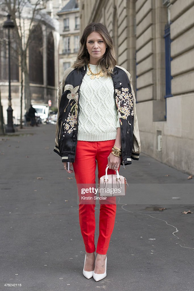 Fashion Blogger Helena Bordon wears Zara trousers jacket sweater and jewellery Tods bag and Gianvito Rossi shoes on day 2 of Paris Collections Women...