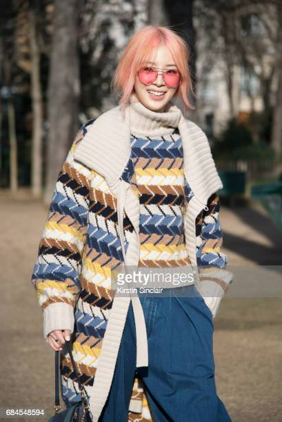 Fashion blogger Irene Kim wears all Chloe on day 3 during Paris Fashion Week Autumn/Winter 2017/18 on March 2 2017 in Paris France Irene Kim