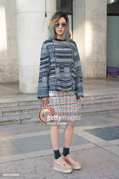 Fashion blogger Irene Kim wears Chanel skirt and Stella McCartney shoes on day 3 of Paris Collections Women on March 05 2015 in Paris France