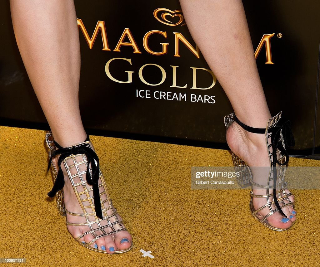 Fashion blogger Jane Aldridge (shoe detail) attends the premiere of 'As Good As Gold' during the 2013 Tribeca Film Festival at Gotham Hall on April 18, 2013 in New York City.