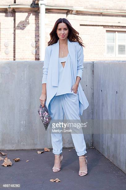 Fashion Blogger Jasmine Howell wears a FinderÕs Keepers suit and top Nasty Girl shoes and a Givenchy clutch at MercedesBenz Fashion Week Australia...