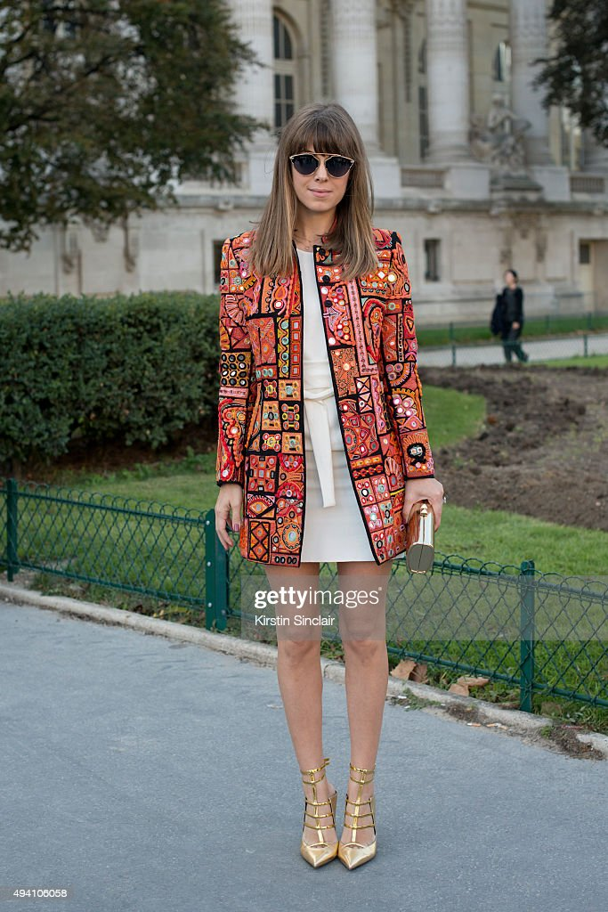 Fashion Blogger Jenny Bernheim wears all Barbara Bui Jimmy Choo bag and Dior sunglasses on day 3 during Paris Fashion Week Spring/Summer 2016/17 on...