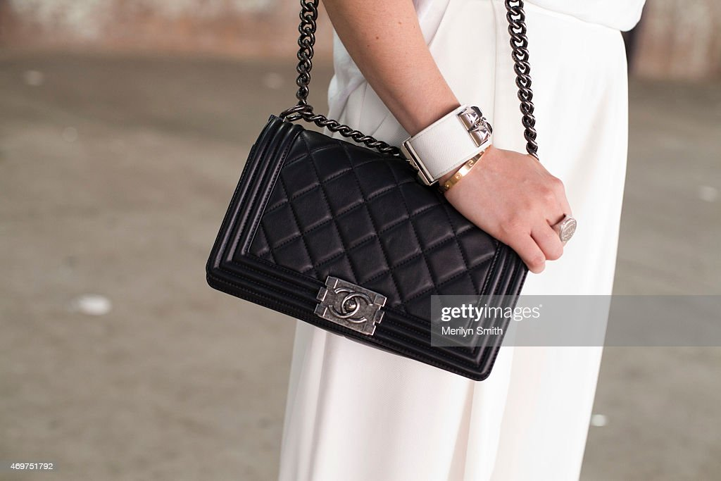 Fashion Blogger Jess Dempsey wears The Fifth trousers and a Chanel bag at MercedesBenz Fashion Week Australia 2015 at Carriageworks on April 14 2015...