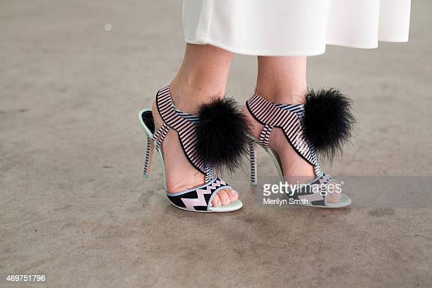 Fashion Blogger Jess Dempsey wears The Fifth trousers and Sophia Webster shoes at MercedesBenz Fashion Week Australia 2015 at Carriageworks on April...