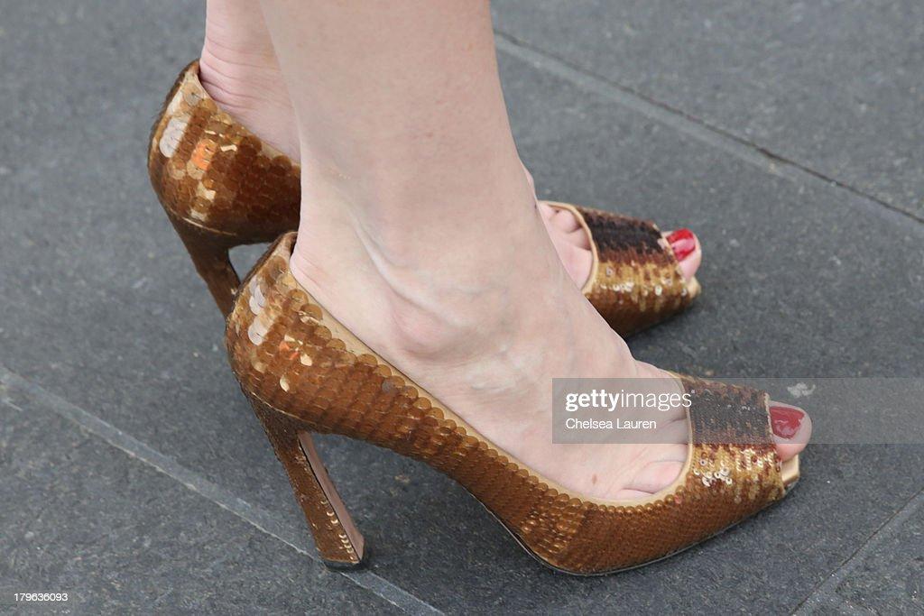 Fashion blogger Karen Weaver aka Ginger is seen wearing Prada shoes on the Streets of Manhattan on September 5 2013 in New York City