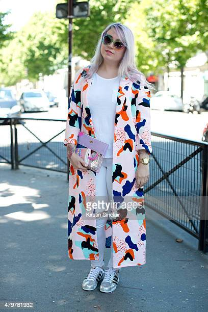 Fashion Blogger Katia Giorgino wears Pippa Lynn kimono Bando bag Adidas trainers and UNIF sunglasses on day 5 of Paris Fashion Week Menswear...