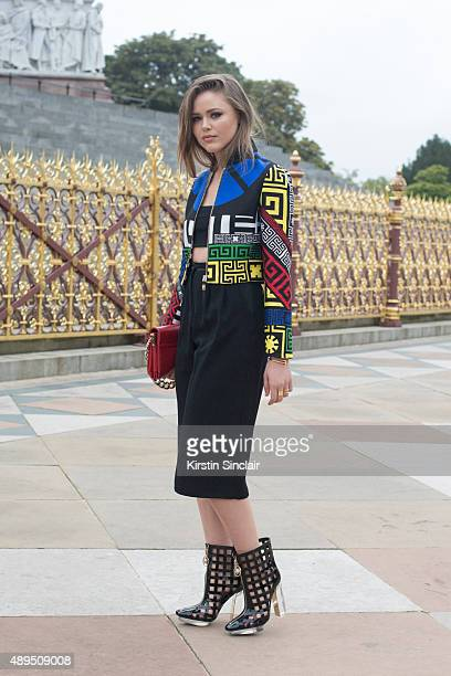 Fashion blogger Kristina Bazan wears all Versace on day 4 during London Fashion Week Spring/Summer 2016/17 on September 21 2015 in London England