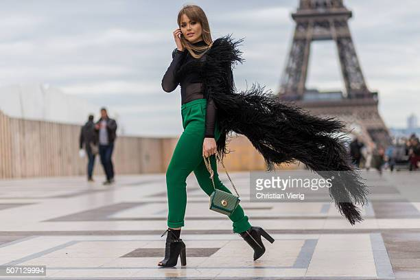 Fashion blogger Kristina Bazzan wearing Elie Saab outside Elie Saab during the Paris Fashion Week Haute Couture Spring/Summer 2016 on January 27 2016...