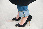 Fashion blogger Laura Comolli wears Dondup jeans and Seox shoes on day 9 of Paris Collections Women on March 11 2015 in Paris France