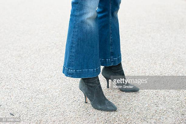 Fashion blogger Laura Tonda wears Seafarer jeans and Gardenia shoes on day 3 during London Fashion Week Autumn/Winter 2016/17 on February 21 2016 in...