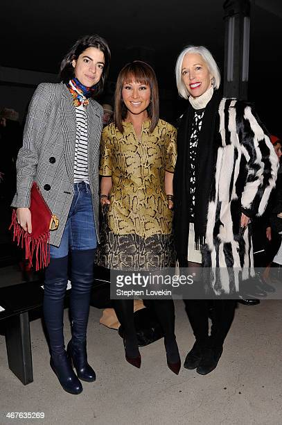 Fashion blogger Leandra Medine journalist Alina Cho and Bergdorf Goodman fashion director Linda Fargo attend the Sally LaPointe fashion show during...
