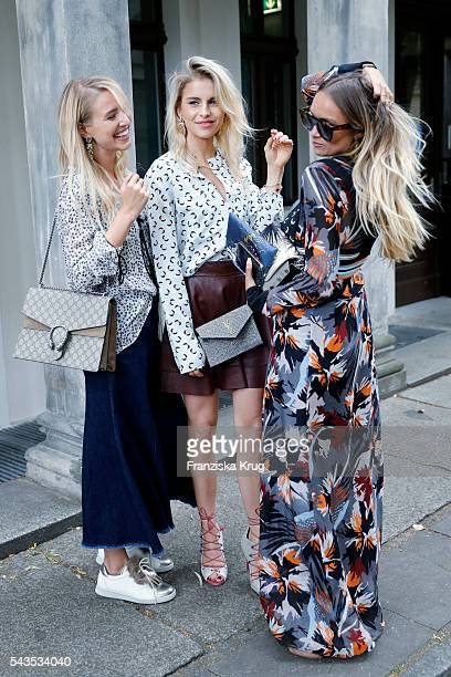Fashion blogger Leonie Hanne Caroline Daur and Nina Suess attend the Dorothee Schumacher show during the MercedesBenz Fashion Week Berlin...