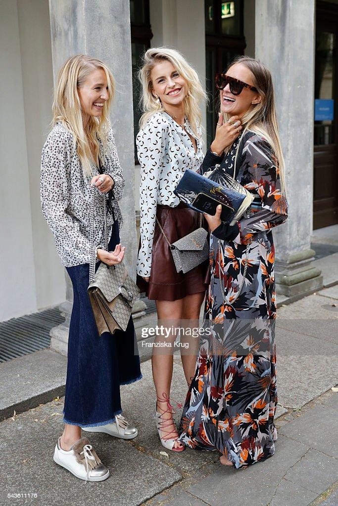 Fashion blogger Leonie Hanne, Caroline Daur and Nina Suess attend the Dorothee Schumacher show during the Mercedes-Benz Fashion Week Berlin Spring/Summer 2017 at Elisabethkirche on June 29, 2016 in Berlin, Germany.