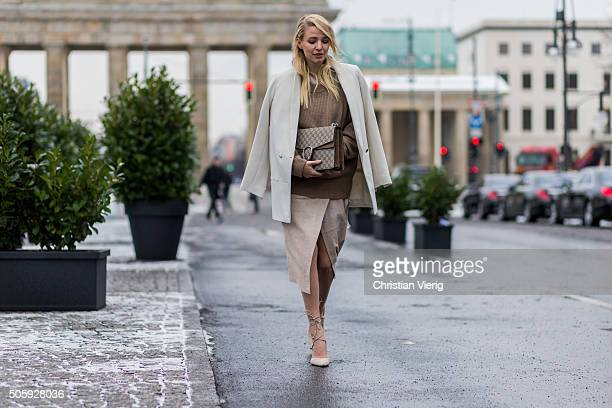 Fashion blogger Leonie Sophie Hanne of Ohhcouture outside Dorothee Schumacher during the MercedesBenz Fashion Week Berlin Autumn/Winter 2016 at...