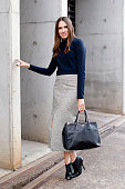 Fashion Blogger Lidia Misev wears a Prada bag Witchery top Ellery skirt and Gianvito Rossi boots at MercedesBenz Fashion Week Australia 2015 at...