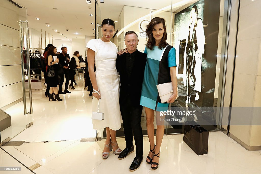 Fashion Blogger Lily Kwong, Kevin Carrigan, CK Global Creative Director and Fashion Blogger Hanneli Mustaparta pose for picture during the Fall 2012 Presentation at ck Calvin Klein store in Oriental Plaza on November 13, 2012 in Beijing, China.