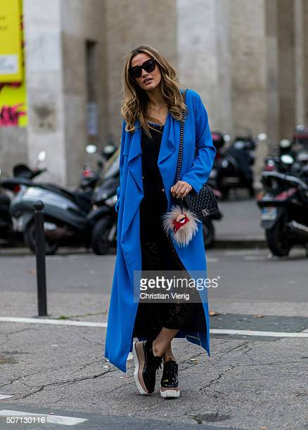 Fashion blogger Lima Che of Limas Wardrobe wearing Pinko jacket Stella McCartney shoes Chanel bag and Fendi outside Viktor and Rolf during the Paris...