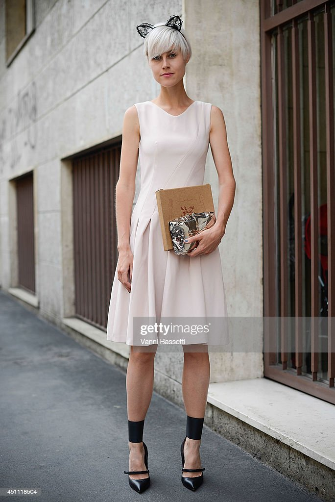 Fashion blogger Linda Tol is seen wearing an H&M dress after Etro show on June 23, 2014 in Milan, Italy.