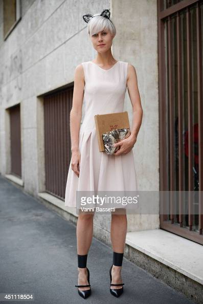 Fashion blogger Linda Tol is seen wearing an HM dress after Etro show on June 23 2014 in Milan Italy