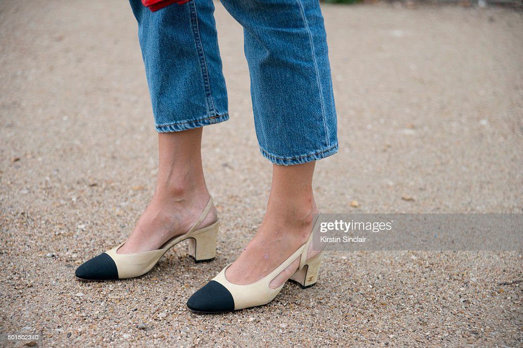 Fashion Blogger Linda Tol wears Chanel shoes and Acne jeans on day 8 during Paris Fashion Week Spring/Summer 2016/17 on October 6 2015 in Paris...
