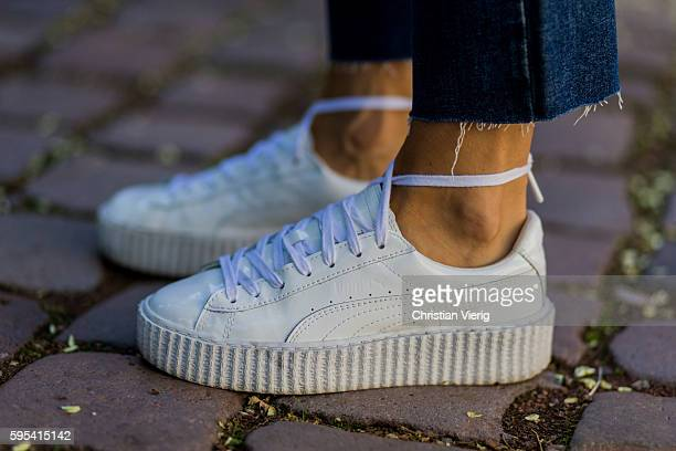 Fashion blogger Lisa Hahnbueck wearing white Puma Fenty Sneaker on August 25 2016 in Duesseldorf Germany
