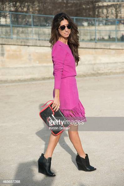 Fashion blogger Luiza Sobral wears a Cris Capoani dress Pierre Hardy bag Alexander Wang shoes and Dior sunglasses on day 5 of Paris Collections Women...