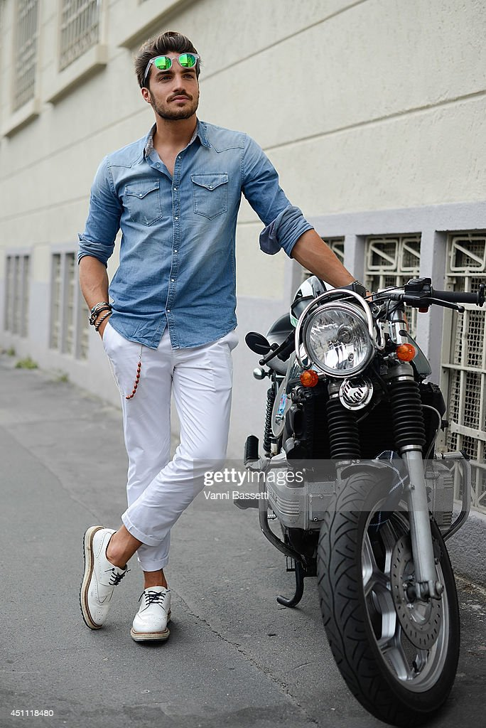 Fashion blogger Mariano Di Vaio is seen a Grifoni shirt and Baronio pants after Dirk Bikkembergs show on June 23, 2014 in Milan, Italy.