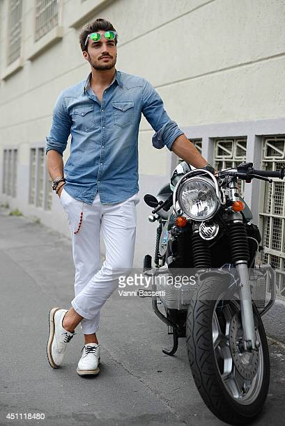 Fashion blogger Mariano Di Vaio is seen a Grifoni shirt and Baronio pants after Dirk Bikkembergs show on June 23 2014 in Milan Italy