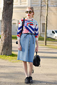 Fashion blogger Marie Jensen poses wearing Other Stories top self made skirt Marni shoes and a vintage bag on Day 6 of Paris Fashion Week Womenswear...