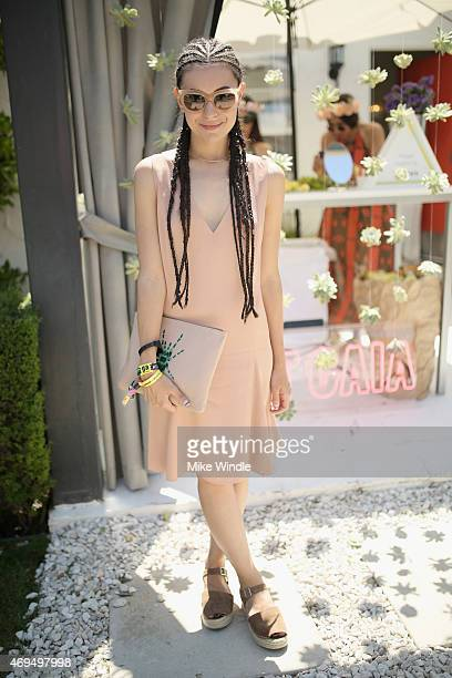 Fashion blogger Marta Pozzan attends POPSUGAR SHOPSTYLE'S Cabana Club Pool Parties Day 2 at the Avalon Hotel on April 12 2015 in Palm Springs...