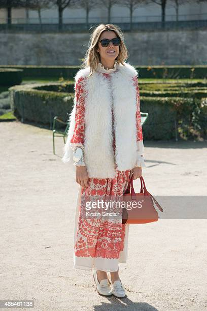 Fashion blogger Martha Graeff wears an Alberta Ferretti gilet and Tod's accessories on day 4 of Paris Collections Women on March 06 2015 in Paris...